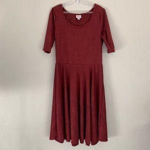 LuLaRoe | Nicole burgandy dress paisley design XL